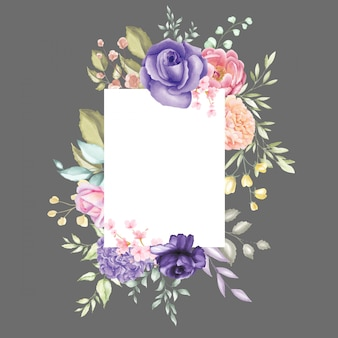 Akwarela kwiatowy rama multi celem tło