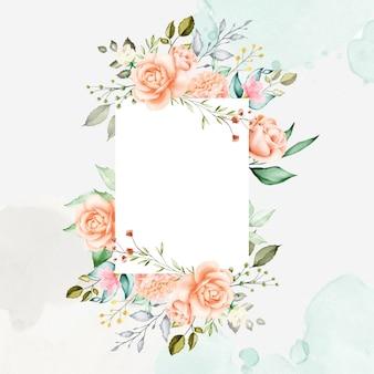 Akwarela kwiatowy rama tło uniwersalne