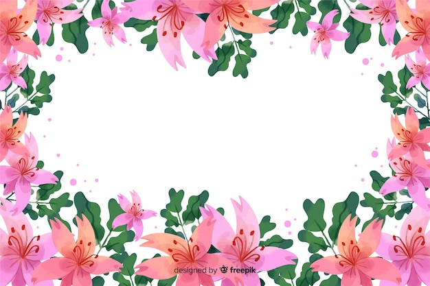 Akwarela kwiatowy rama tło z miejsce