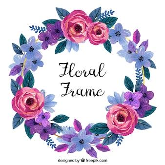 Akwarela kwiatowy rama w kolorowy styl