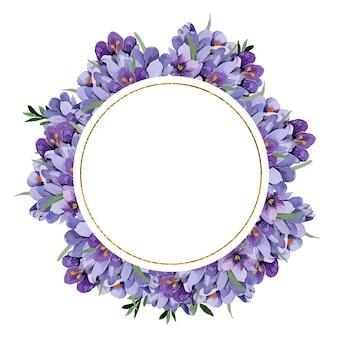 Akwarela kwiatowy rama wiosennych kwiatów krokusów niebieski