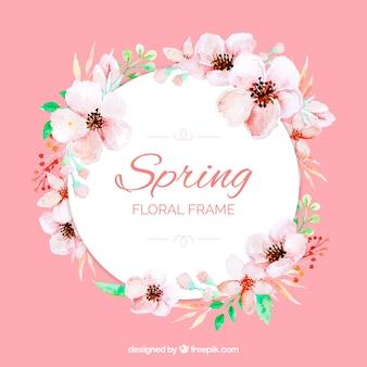 Akwarela kwiatowy rama wiosna