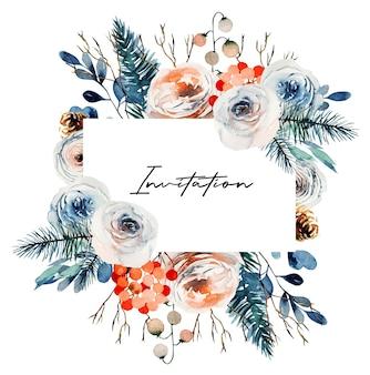 Akwarela kwiatowy rama z białych i różowych róż, gałęzi jodłowych i czerwonych jagód