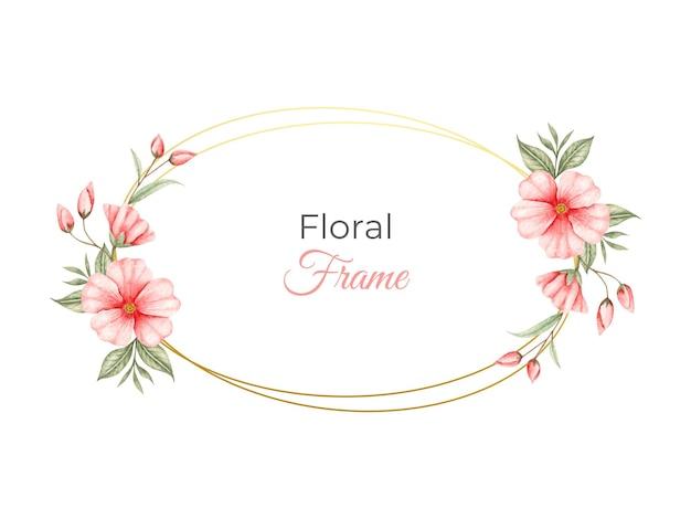 Akwarela kwiatowy rama z czerwonymi kwiatami