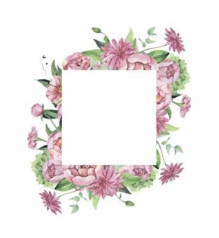 Akwarela kwiatowy rama z kwiatami i liśćmi.