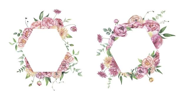 Akwarela kwiatowy rama z kwiatami
