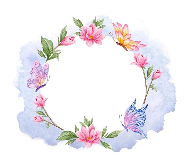 Akwarela Kwiatowy Rama Z Motylem Premium Wektorów