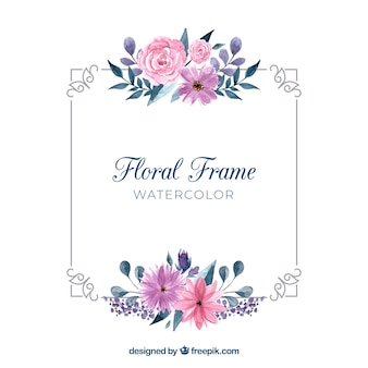 Akwarela kwiatowy rama z pięknym stylu