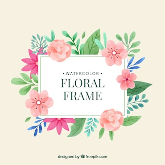 Akwarela kwiatowy rama z pięknym wzorem