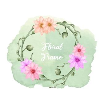 Akwarela kwiatowy rama z pluskiem