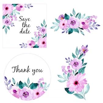 Akwarela kwiatowy ramki i bukiet kolekcji. zapisz datę i dziękuję karty