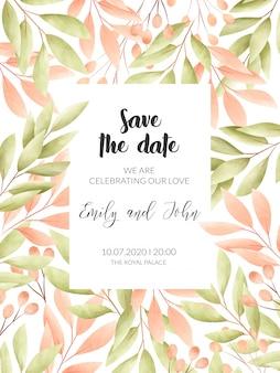 Akwarela kwiatowy ramki. karta zaproszenie na ślub