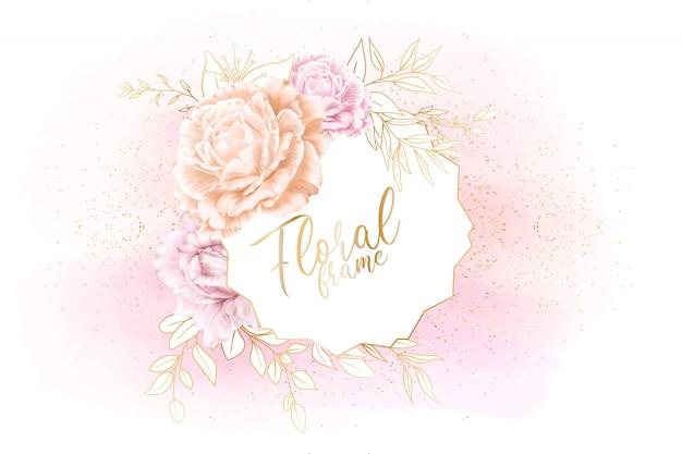 Akwarela kwiatowy ramki ślubne karty ze złotymi liśćmi