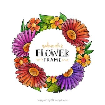Akwarela kwiatowy ramki z okrągłym wzorem