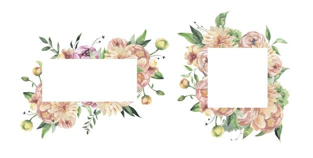 Akwarela kwiatowy ramki.