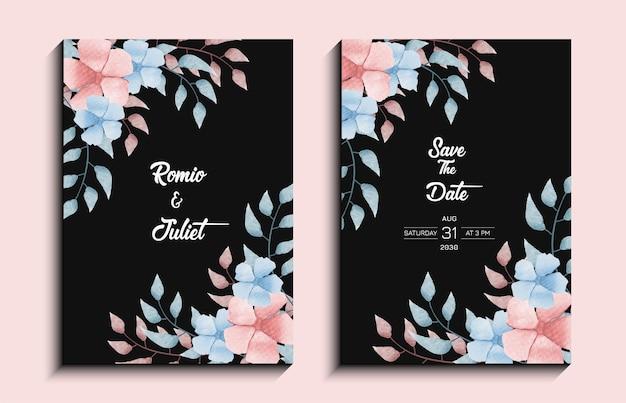 Akwarela kwiatowy ręcznie malowana karta zaproszenie na ślub. akwarelowy szablon kwiatu akwareli