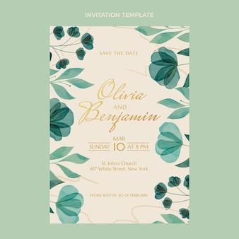Akwarela kwiatowy ręcznie rysowane zaproszenie na ślub