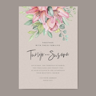 Akwarela kwiatowy ślub karty