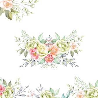 Akwarela kwiatowy szablon karty z pozdrowieniami i zaproszenie