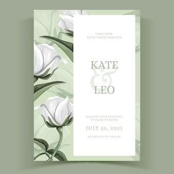Akwarela kwiatowy szablon na zaproszenie na ślub