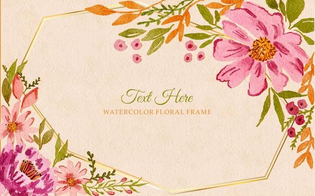 Akwarela kwiatowy tło ramki na zaproszenie na ślub