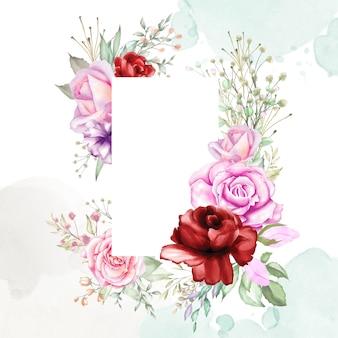 Akwarela kwiatowy tło ramki