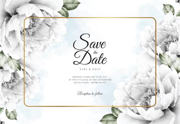 Akwarela kwiatowy tło szablonu karty ślubu