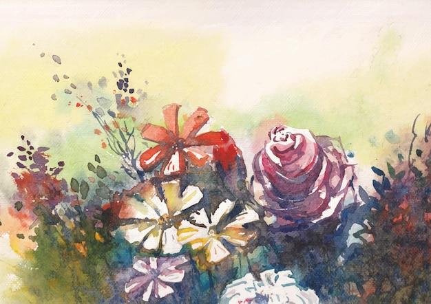 Akwarela kwiatowy tło sztuki i projektowania