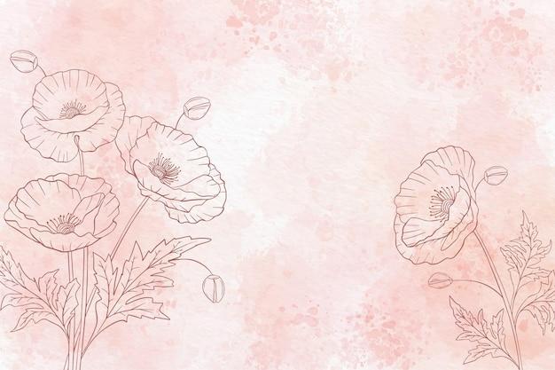 Akwarela kwiatowy tło w trybie monochromatycznym