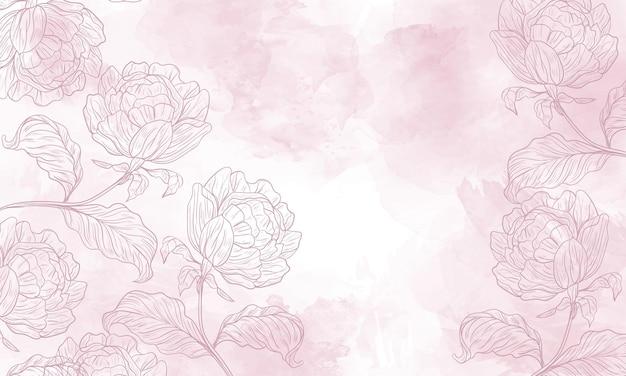 Akwarela kwiatowy tło z ręcznie rysowanymi elementami kwiatowymi