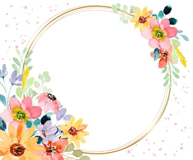 Akwarela kwiatowy tło ze złotym kółkiem