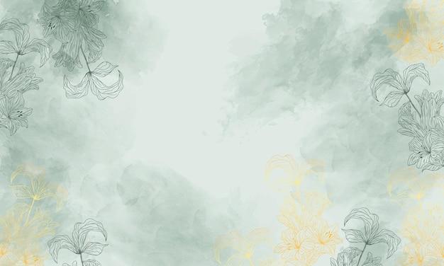 Akwarela kwiatowy tło ze złotym ręcznie rysowane kwiat