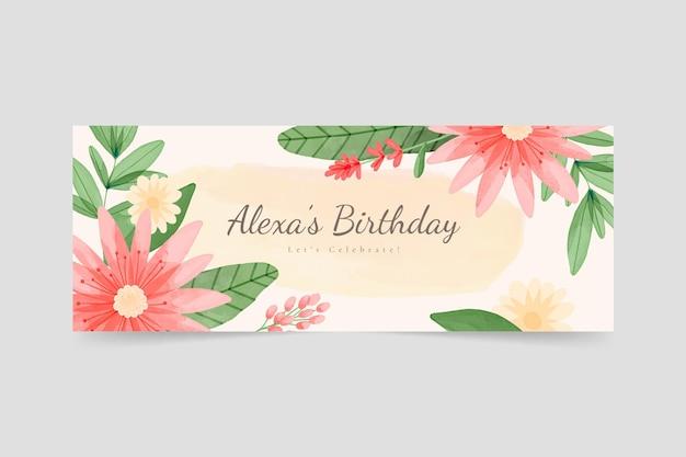 Akwarela kwiatowy urodziny okładka na facebooku