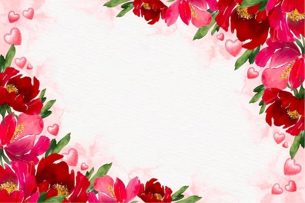 Akwarela kwiatowy walentynki tło