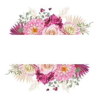 Akwarela kwiatowy wesele wektor rama. trawa pampasowa, róża, kwiaty dalii luksusowy design, suche liście palmowe szablon obramowania na ceremonię ślubną, rustykalne zaproszenie, ozdobny baner letni boho