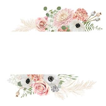 Akwarela kwiatowy wesele wektor rama. trawa pampasowa, zawilec, kwiaty róży granicy szablon do ceremonii ślubnej. minimalna wiosenna karta z zaproszeniem, dekoracyjny letni baner boho