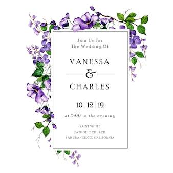 Akwarela kwiatowy wesele zaproszenie karty