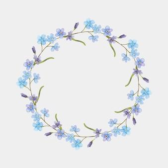Akwarela kwiatowy wieniec rysunek clipart
