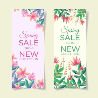 Akwarela kwiatowy wiosenna wyprzedaż banery