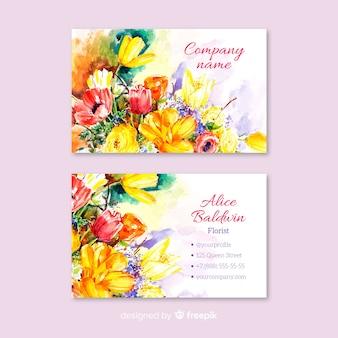 Akwarela kwiatowy wizytówki szablon