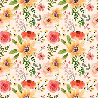 Akwarela kwiatowy wzór czerwona róża i żółta lilia
