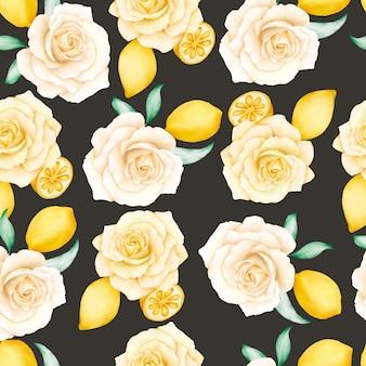 Akwarela kwiatowy wzór z cytrynami