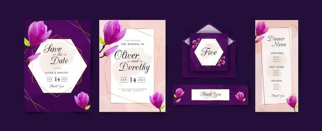 Akwarela kwiatowy zaproszenia ślubne zestaw