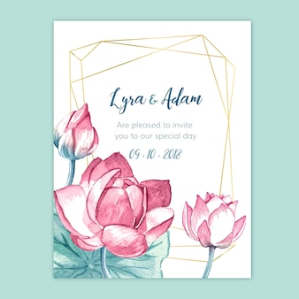 Akwarela kwiatowy zaproszenie na ślub z geometrią