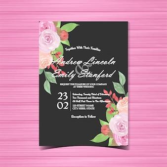 Akwarela kwiatowy zaproszenie na ślub z pięknym róż
