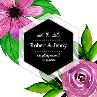 Akwarela kwiatowy zaproszenie na ślub