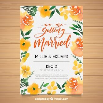 Akwarela kwiatowy zaproszenie na wesele