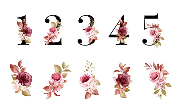 Akwarela kwiatowy zestaw 1, 2, 3, 4, 5 z czerwonymi i brązowymi kwiatami i liśćmi.