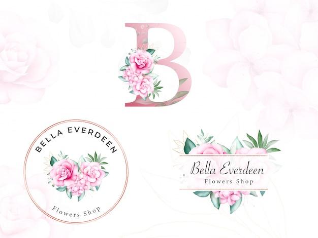 Akwarela kwiatowy zestaw logo dla początkowej b brzoskwiniowych róż i liści. wstępnie wykonana plakietka z kwiatami do brandingu