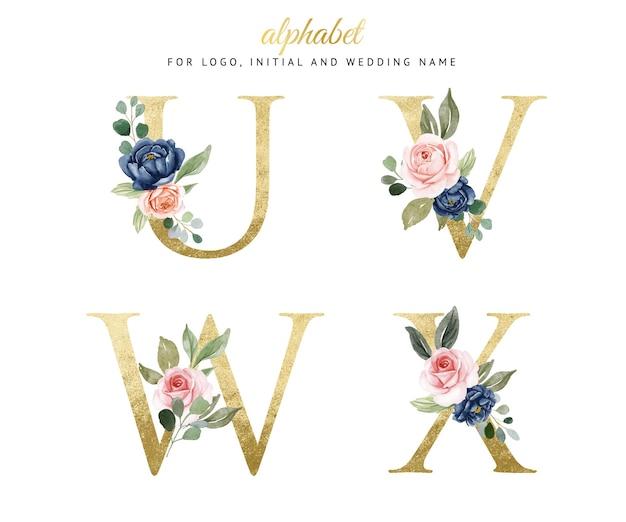 Akwarela kwiatowy złoty alfabet zestaw u, v, w, x z granatowymi i brzoskwiniowymi kwiatami. na logo, karty, branding itp